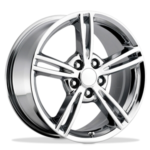 2008 Split Spoke Corvette GM Wheel Exchange (Set) : Chrome 18x8.5/19x10 : 2008-2013 C6