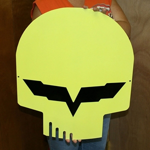 "2005-2013 C6 Corvette Yellow Jake Skull Large Metal Wall Sign - 23"" x 19"""