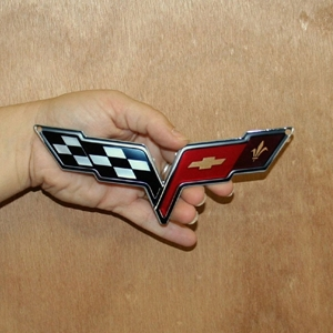 "2005-2013 C6 Corvette Crossed Flag Metal Magnet - 6"" x 2.5"""