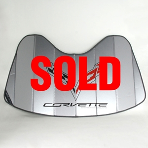2014, 2015, 2016, 2017, C7 Corvette Stingray, Z51, Z06, Grand Sport Logo Accordion Style Sunshade - Insulated Silver