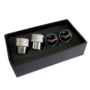 Corvette Knurled Aluminum Valve Stem Caps - Crossed Flags : 2005-2013 C6