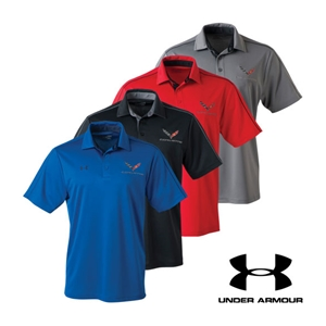C7 Corvette Crossed Flags Under Armour Tech Polo Shirt