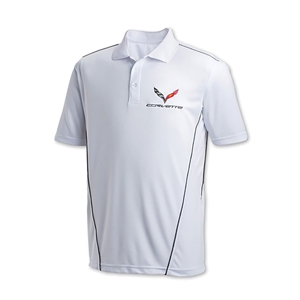 C7 Corvette w/Crossed Flags Sport Polo : White