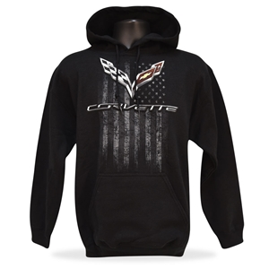 2014, 2015, 2016, 2017 C7 Corvette American Legacy Hooded Sweatshirt : Black