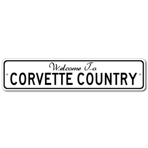 Welcome to Corvette Country Aluminum Wall Hanging Street Sign