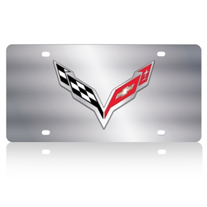 C7 Corvette Stingray Crossed Flags License Plate/Tags - Polished Stainless Steel