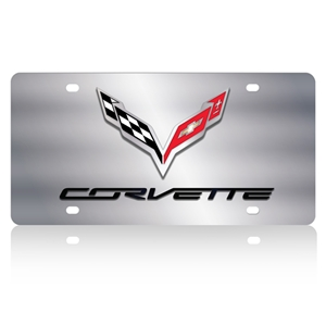 C7 Corvette Stingray Crossed Flags with Corvette Script License Plate/Tags - Polished Stainless Steel