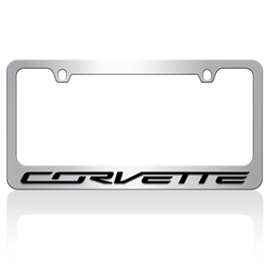 C7 Corvette Black License Plate Frame with high impact acrylic Black Corvette letters