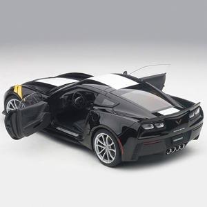 C7 Corvette Grand Sport - Black w/White Stripe, Yellow Fender : Die Cast 1:18