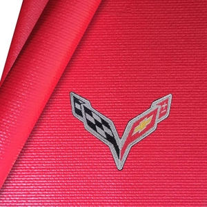 Corvette Fender Mat with C7 Crossed Flags Logo : Red
