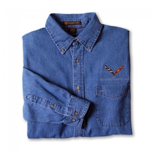 Corvette Denim Button-down Shirt : C7 Stingray