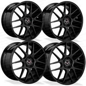 Lexani L-CC7 Gloss Black Cast Monoblock Wheels for C6, C7 and C7 Z51 Corvette