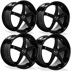 Lexani L-CC5 Gloss Black Cast Monoblock Wheels for C6, C7 and C7 Z51 Corvette