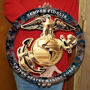 "USMC Globe Round Enlisted Metal Wall Sign w/Camo Circle : 19"" x 19"""