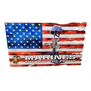 "USMC Enlisted ""The Few. The Proud."" Fallen Battle Cross USA American Flag Metal Wall Sign - Red, White, Blue : 24"" x 15"""