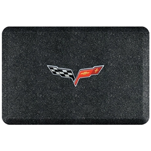 "2005 -2013 C6 Corvette Premium Garage Floor Mat with Crossed Flags Logo - 32"" x 20"" - Mosaic Onyx"