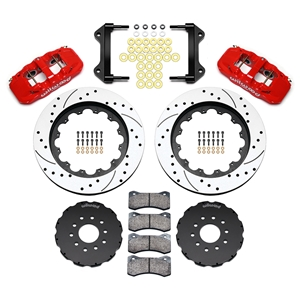 2005-2013 C6 Corvette Red Drilled-Slotted 14.25 inch Front AERO6 Big Brake Kit by Wilwood