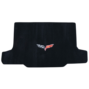 Lloyds Velourtex 2005-2013 C6 Corvette Convertible Ebony Cargo Mat with Cross Flags