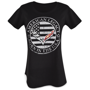 C7 Corvette Ladies Born in the USA American Legacy T-shirt : Black
