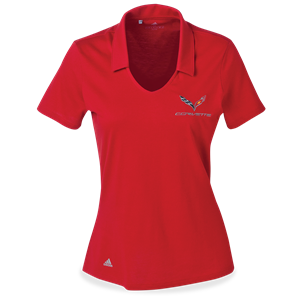 C7 Corvette Ladies Adidas Cotton Hand Polo : Red