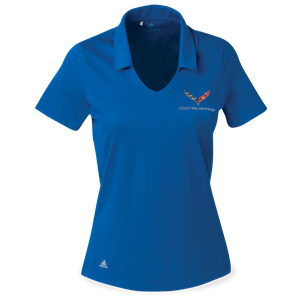 C7 Corvette Ladies Adidas Cotton Hand Polo : Royal Blue