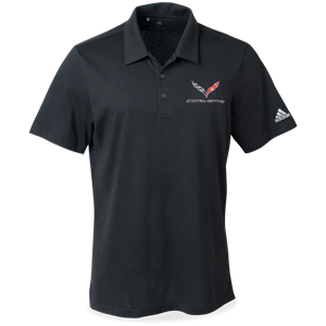 C7 Corvette Adidas Cotton Hand Polo - Black