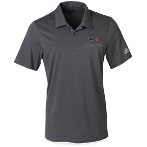 C7 Corvette Adidas Cotton Hand Polo - Gray