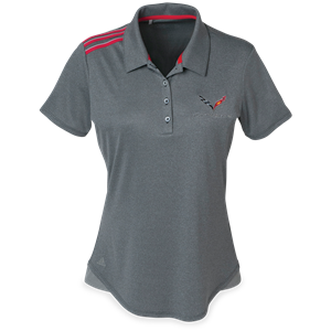 C7 Corvette Ladies Adidas Climacool Sport Shirt : Red Stripes