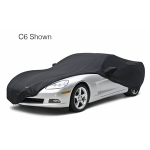 Corvette GM Car Cover Stretch Satin w/C6 Z06 logo on front & rear - Black: 2006-2013 Z06