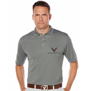 Mens C8 Corvette Next Generation Callaway Dry Core Polo : Smoke