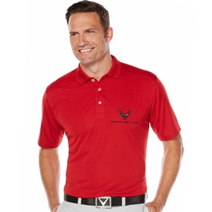 Mens C8 Corvette Next Generation Callaway Dry Core Polo : Red