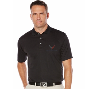 Mens C8 Corvette Next Generation Callaway Dry Core Polo : Black