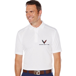 Mens C8 Corvette Next Generation Callaway Dry Core Polo : White