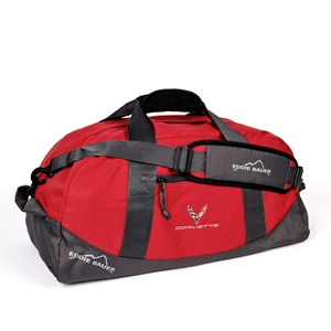 C8 Corvette Next Generation Eddie Bauer Duffle with Cross Flags Logo - Red
