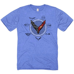 C8 Corvette Next Generation C1-C8 Generation T-shirt : Heather Medium Blue
