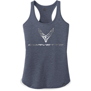 C8 Corvette Next Generation Foil Racerback Tank - Ladies : True Navy