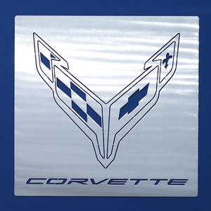 C8 Corvette Next Generation Crossed Flag Emblem with Corvette Letters Hanging Wall Art - 12 inch