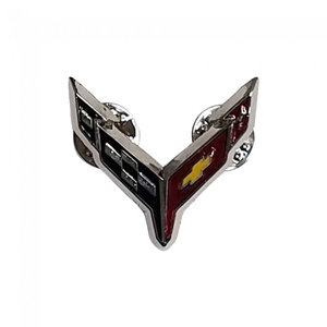 Next Generation Corvette Flags Lapel Pin : Chrome.