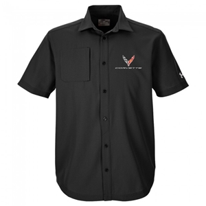 C8 Corvette Next Generation Under Armour Button Down Shirt : Black.