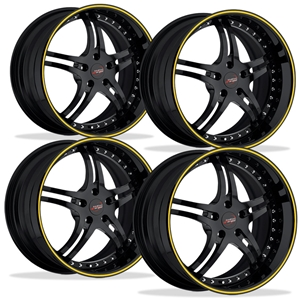 Corvette Custom Wheels - WCC 946 EXT Forged Series (Set) : Gloss Black with Yellow Stripe