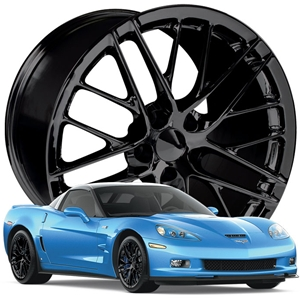 2009-2011 ZR1 Corvette GM Wheel Exchange (Set):  Semi-Gloss (Satin Finish) Black Powder Coat 19x10/20x12