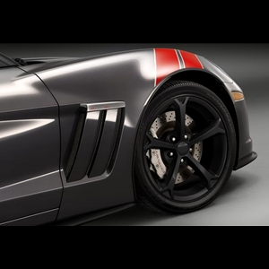 2010 C6 Grand Sport Corvette GM Wheel Exchange (Set) : Flat Black Powder Coat 18x9.5/19x12
