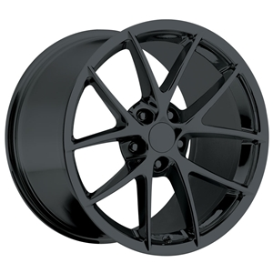 2009 C6Z06 Spyder Corvette GM Wheel Exchange (Set) : Flat Black Powder Coat 18x9.5/19x12