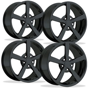 2008 C6 Gumby Corvette GM Wheel Exchange (Set) : Flat Black Powder Coat 18x8.5/19x10