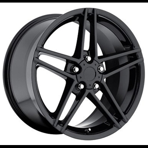 2006 C6Z06 Split Spoke Corvette GM Wheel Exchange (Set) : Flat Black Powder Coat 18x9.5/19x12