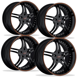 Corvette Custom Wheels - WCC 946 EXT Forged Series (Set) : Gloss Black with Orange Stripe