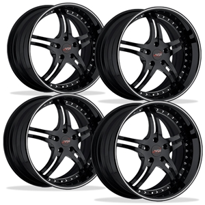 Corvette Custom Wheels - WCC 946 EXT Forged Series (Set) : Gloss Black with Silver Stripe