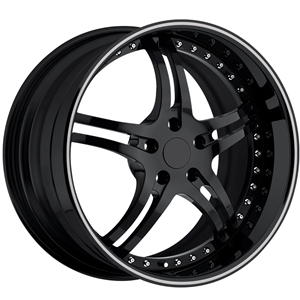 Corvette Custom Wheels - WCC 946 EXT Forged Series : Gloss Black with Silver Stripe