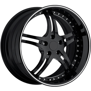 Corvette Custom Wheels - WCC 946 EXT Forged Series : Gloss Black with White Stripe