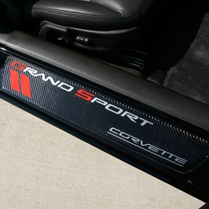 Corvette Door Sill Plates - Carbon Fiber with Grand Sport Logo : 2010-2013 C6